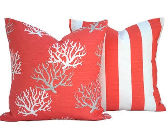 Two nautical pillow covers, 1 coral and 1 striped pillow, decorative throw pillow, decorative pillow, accent pillow, Coral Pillow