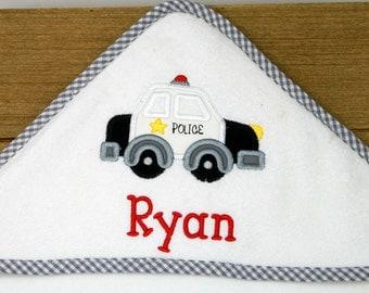 Hooded Bath Towel - Personalized Baby Towel- Baby Bath Towel - Police Car - Monogrammed Towel - Hooded Baby Towel - Baby Swim Towel