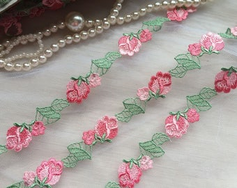 Lace Trim Dark Pink Rose Flowers Embroidered Lace Trim 0.78 Inches Wide 2 Yards Costume Supplies