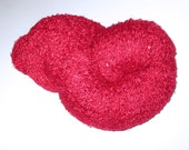 Upcycled red sequin fingering yarn - Megaskein! for knitting/crochet