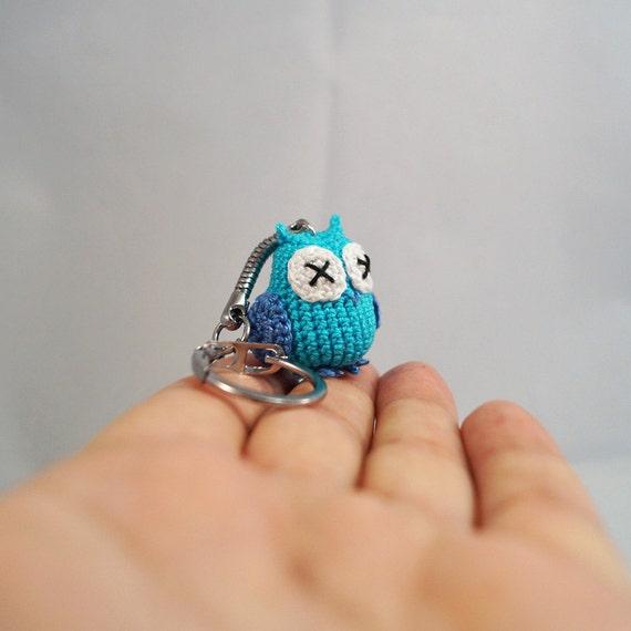 Micro Crocheted Owl Keychain, Keyring, Bag Charm