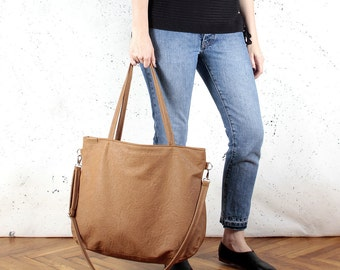 Big Pacco bag russet rusty ginger red shoulder crossbody tote zipped up pockets oversized city bag everyday handbag vegan faux leather