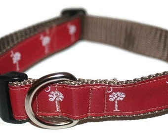Dog Collar- SC Palmetto Flag-Garnet with leash option
