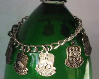 Vintage Silver Charm Bracelet With All 10 Canadian Province Charms, 7""