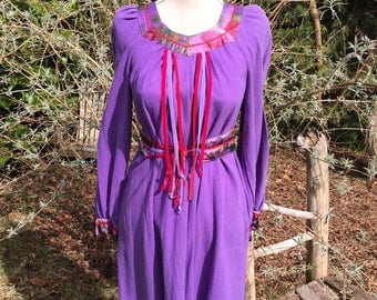 70's vintage made in Paris, India cotton hippie boho dress with velvet ribbons maternity wear large