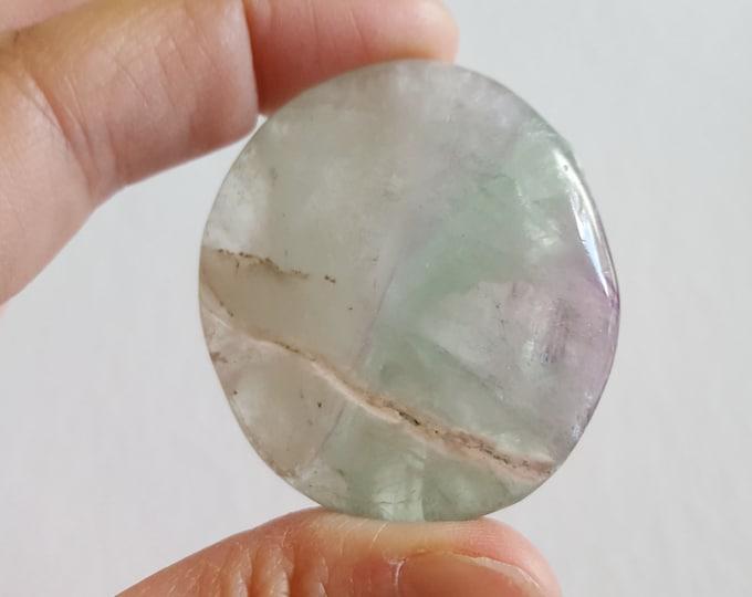Large Rainbow Fluorite Palm Stone, Chakra Stone, Worry Stone, Fidget Stone ~ 1 Reiki infused polished flat stone approx 1.8x1.6 inch (FLW73)