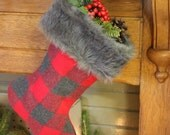 Red and grey stocking with fur cuff