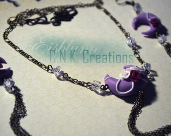 Moon necklace and Earrings