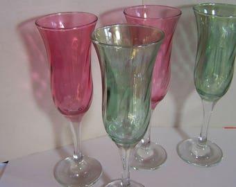 4 Vintage Champagne Flutes