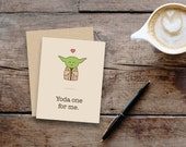 Yoda one for me // Star Wars inspired greeting card // small, blank inside