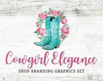 Shabby Country Etsy Shop Banners, Avatar Icons, Business Card, Logo Label + More - 13 Premade Branding Graphics Files - COWGIRL ELEGANCE