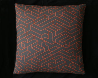 "Modern Accent Pillow -100% Wool - Victor Vasarely/Escher inspired -  17"" x 17"" with feather insert"