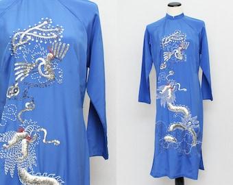 Beaded Asian Tunic Dress - Size Medium Vintage 1970s Sequinned Long Sleeve Mandarin Collar Dress
