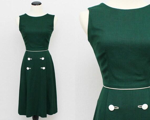 60s Hunter Green Linen Day Dress - Size Small Vintage 1960s Green Flared Skirt Dress