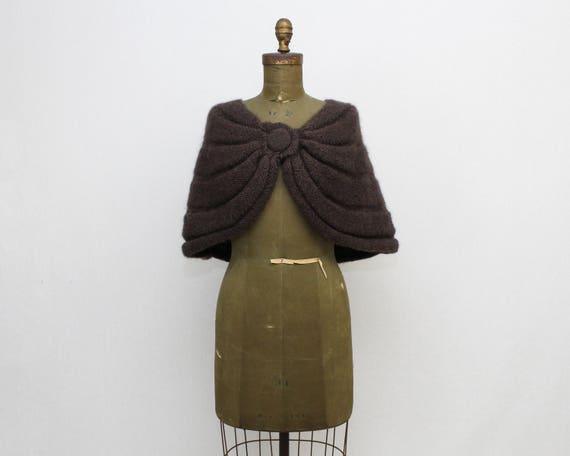 Brown Wool Wrap Shawl - Vintage 1960s Alpaca Wool Bolero Jacket