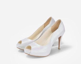 Xelia Ivory Custom Made Heels, Custom Made Ivory Satin Heels, Custom Made Dinner Heels