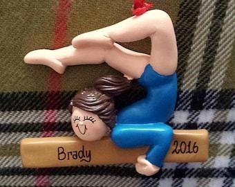 Personalized Gymnast in Blue Leotard - Gymnastics/Gymnast Birthday/Gymnastics Cake Stand/Magnet/Ornament - Customize Hair Color & Skin Tone