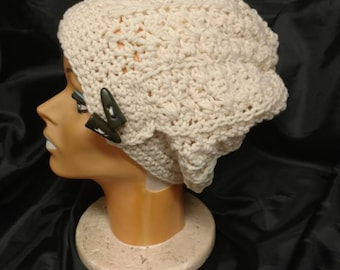 Beautiful cream colored crocheted Slouch Hat with Vintage buttons
