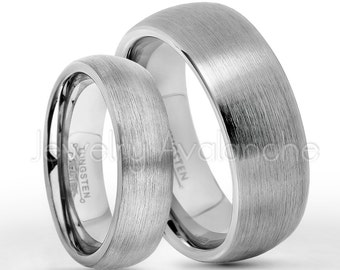 Tungsten Wedding Band Set, 6mm & 8mm Classic Dome Tungsten Carbide Wedding Rings, Bride and Groom Ring, Matching Anniversary Rings TN060-069