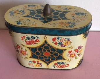 Vintage Oval Floral Container with Blue Accents