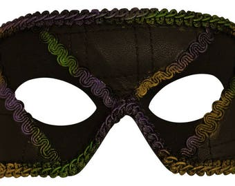 Ethan Mardi Gras Textured Masquerade Mask for Men A-2587GM