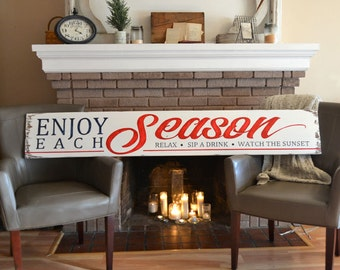 Large Wooden Sign - Enjoy Each Season - Cabin Sign - Beach House Decor - Rustic Decor - Bed and Breakfast Sign - FREE SHIPPING
