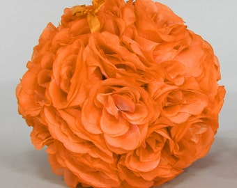 Silk kissing pomander flower ball ORANGE