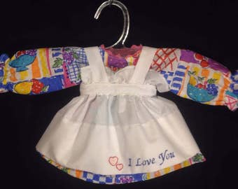 Dress and Apron for 15 INCH Raggedy Ann Doll,multi color with fruit, Patchwork Print dress,embroidered apron