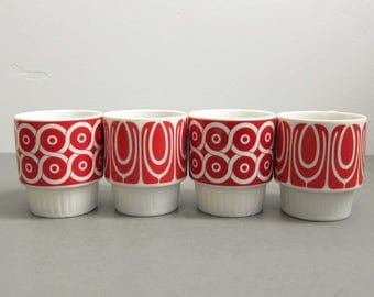 Vintage Japan Red Mod Geometric Stacking Porcelain Mugs - Set of 4