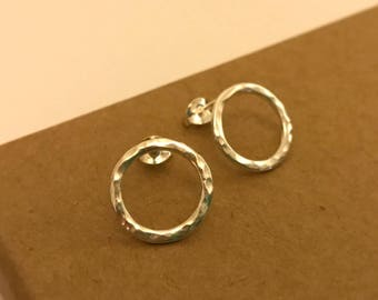 Hammered circle stud earrings in sterling silver