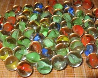 Lot of 25 Vintage Pee Wee Cat's Eye Marbles / Glass Marbles / Toy Marbles / Game Marbles / Craft Marbles