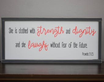 Proverbs 31:25 Bible verse wall art wood, She is clothed in strength and dignity, Coral nursery decor, Girls room sign