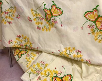 Vintage 1970s Yellow Twin Marlene Butterfly Sheet Set