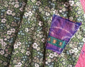 Vintage Womens sz medium green floral liberty of london  inspired print button down shirt farm inspired
