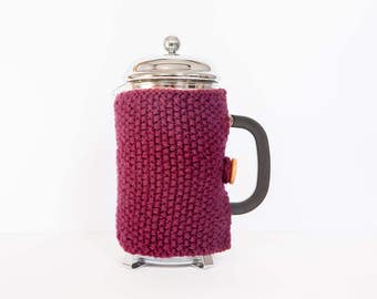 Plum knit coffee cosy - Cafetiere cosy - Coffee jug warmer - French press cover - Coffee press cosy - Coffee pot cosy - Coffee lover gift