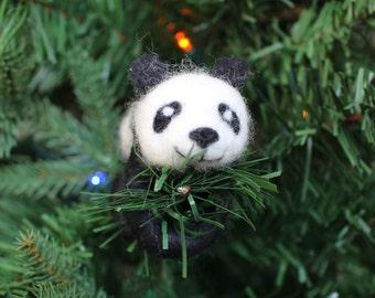 Needle-felted Panda Christmas Ornament