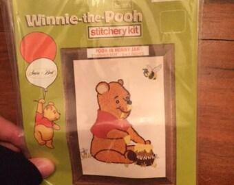 Vintage Sears Winnie the Pooh Stitchery Kit Pooh in Hunny Jar Disney Needlepoint