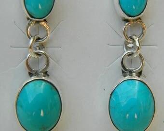 Native American Navajo Blue Turquoise 2 Stone Sterling Silver Handmade Earrings