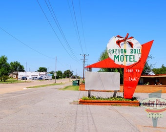 Route 66. Cotton Boll Motel. Canute, Oklahoma.  Fine Art Archival Photograph, Signed with COA