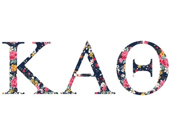 kappa alpha theta standard greek font floral print letter sticker outside carcomputer