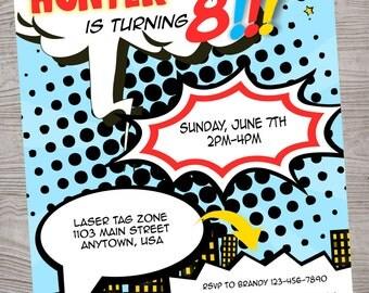 Superhero Comic birthday  party invitation. printable. digital download