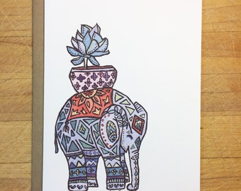 Elephant with succulent pot note card