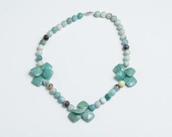Turquoise Colored Amazonite Gemstone Beaded Necklace