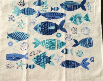 Blue Fish on White Background Crochet Top Towel (R41)