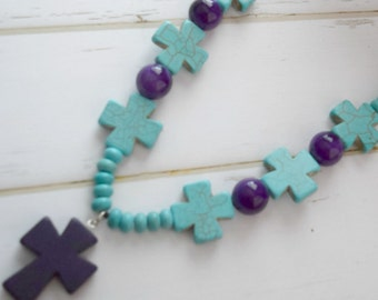 Christian Jewelry Necklace With Turquoise Cross Beads