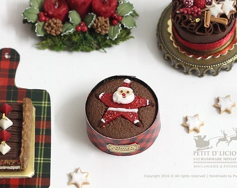 Classic Buttered Rum Christmas Cake with Star Santa on topped in 1/12th miniature dollhouse Christmas Cake