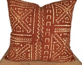 """Rust Mudcloth Pillow Cover Authentic Mud Cloth Pillow 18""""x18"""""""