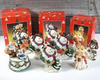 Christmas Animal Figurines Snowman Red Bird Cat Dog Ceramic Decor Take Your Pick