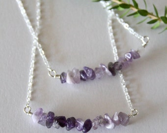 Sterling Silver and Amethyst Bar Necklace / Bar Necklace / Gemstone Necklace / Amethyst / Amethyst Jewelry / Minimalist / Crystal Jewelry