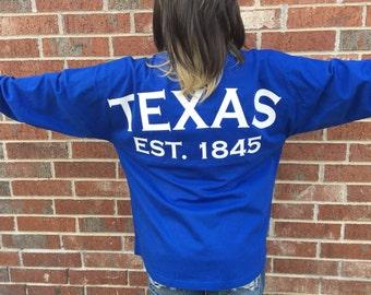 Texas Jersey, Game Day Jersey, Texas spirit shirt, oversized shirt, Texas cotton shirt, Texas gift, State shirt, oversized jersey